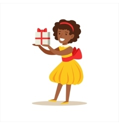 Girl in yellow dress holding a present kids vector