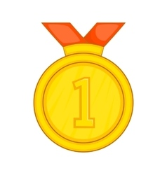 Gold medal for first place icon cartoon style vector