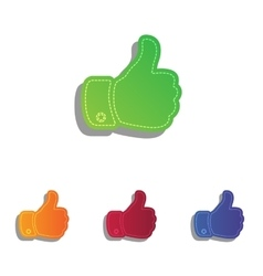 Hand sign Colorfull applique icons vector image vector image
