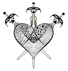 Heartbreak - Heart and Crossed three swords vector image