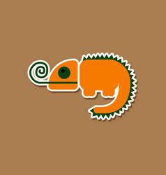 paper sticker on stylish background chameleon vector image vector image