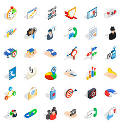 Progress icons set isometric style vector