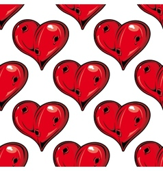 Red Valentines hearts seamless pattern vector image