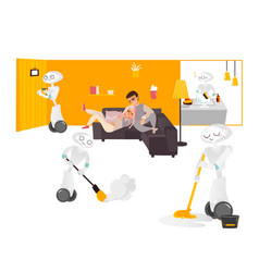 Robot assistants free people from chore housework vector