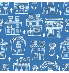Seamless pattern with typical portuguese houses vector