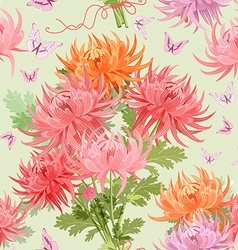 seamless texture with bouquet of chrysanthemums vector image vector image