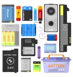 Set of alkaline battery and accumulator vector image