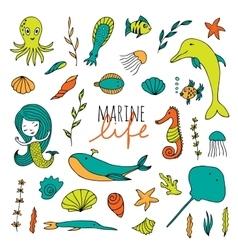 set of marine life vector image