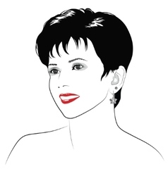 Smiling girl with short dark hair - vector