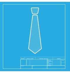 Tie sign white section of icon on vector