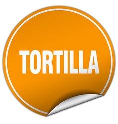 Tortilla round orange sticker isolated on white vector