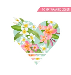 Tropical flowers and leaves background exotic vector