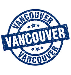 Vancouver blue round grunge stamp vector