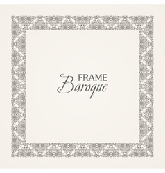 Vintage baroque floral frame black and vector image