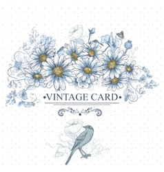 Vintage Floral Card with Birds and Daisies vector image