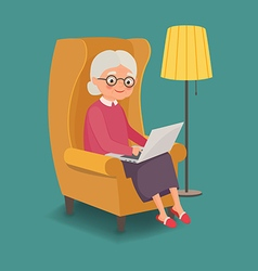 Elderly woman sitting in a chair with a laptop vector