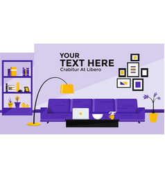Flat design banner of living room vector