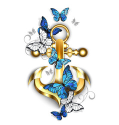 anchor with butterflies morpho vector image