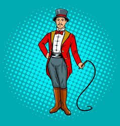 Circus trainer with whip pop art vector