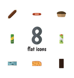 Flat icon meal set of spaghetti packet beverage vector