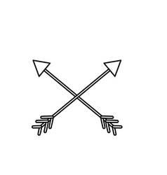 Line arrows in cross with pointer design vector