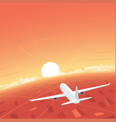 Plane flying and sunset vector