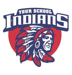 school mascot of indian chief head vector image