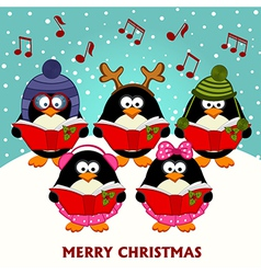 Christmas choir penguins vector