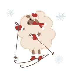 Sheep santa skiing symbol of new year 2015 vector