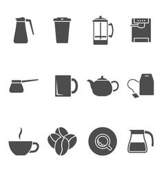coffee tea icons vector image