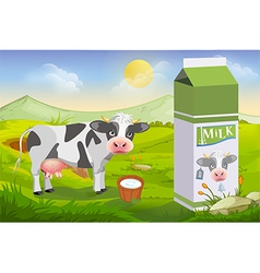 Cute cow and milk pack vector