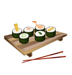 Set of Sushi Roll or Makizushi on White vector image