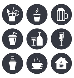 Tea coffee and beer icons alcohol drinks vector