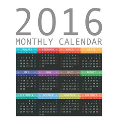 Calendar grid for 2016 rigorous design vector