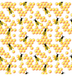 Seamless pattern with honeycombs and wasp vector