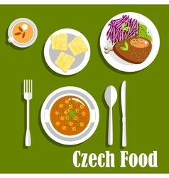 Czech cuisine dishes and dessert cake vector