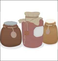Clay jars set vector