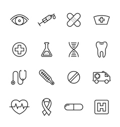 Healthcare medical line icons vector image