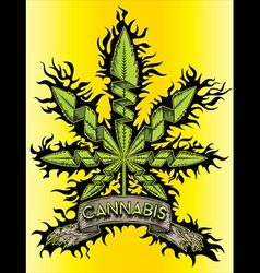 Cannabis marijuana green design leaf symbol vector