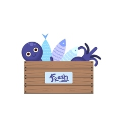 Crate with fish and seafood vector
