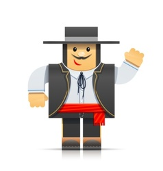 spanish man origami toy vector image