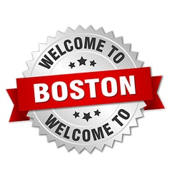 Boston 3d silver badge with red ribbon vector