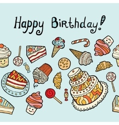 Happy birthday card with sweets on blue background vector
