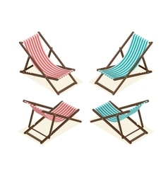 Beach chairs isolated on white background Wooden vector image