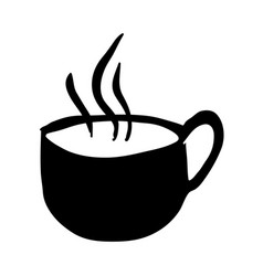 Black silhouette hand drawn of hot coffee cup side vector