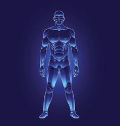 Blue light human male body vector