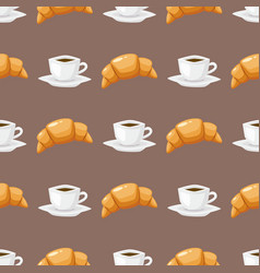 coffee and croissant seamless pattern brown vector image