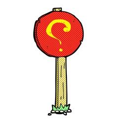 Comic cartoon question mark sign post vector