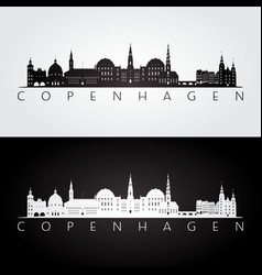 Copenhagen skyline and landmarks silhouette vector