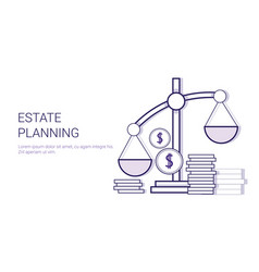 Estate planning concept template web banner with vector